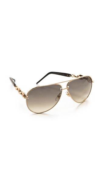 Gucci Metal Aviator Sunglasses - Rose Gold/Dark Grey Ochre at Shopbop / East Dane