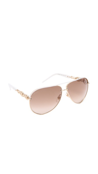 Gucci Metal Aviator Sunglasses - White/Brown Gradient at Shopbop / East Dane