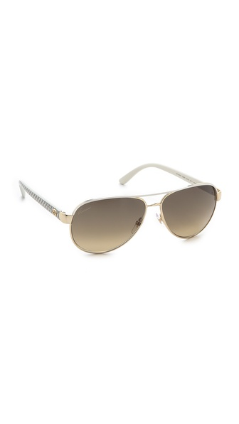 Gucci Aviator Sunglasses With Glitter Temples - Ivory at Shopbop / East Dane