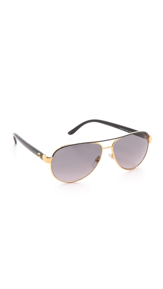Gucci Aviator Sunglasses With Glitter Temples - Shiny Black at Shopbop / East Dane
