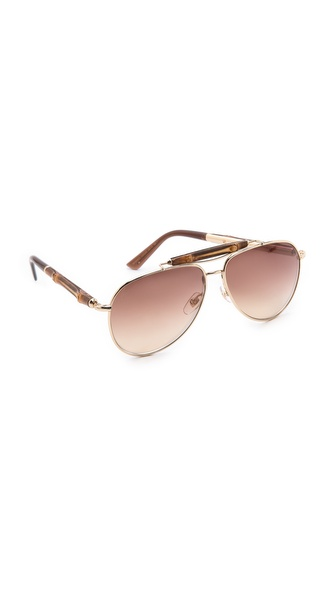 Gucci Aviator Sunglasses - Gold at Shopbop / East Dane
