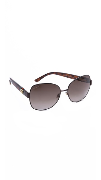 Gucci Oversized Glam Sunglasses - Shiny Brown/Brown Gradient at Shopbop / East Dane