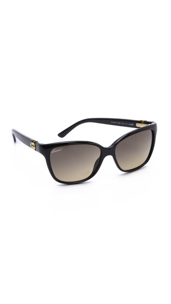 Gucci Classic Gradient Sunglasses - Shiny Black/Brown Gradient at Shopbop / East Dane