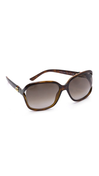 Gucci Open Side Sunglasses - Havana/Brown Gradient at Shopbop / East Dane