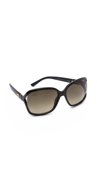 Gucci Open Side Sunglasses - Shiny Black/Brown Gradient at Shopbop / East Dane