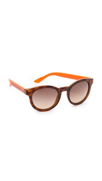 Gucci Round Classic Sunglasses - Havana/Orange/Brown Gradient at Shopbop / East Dane