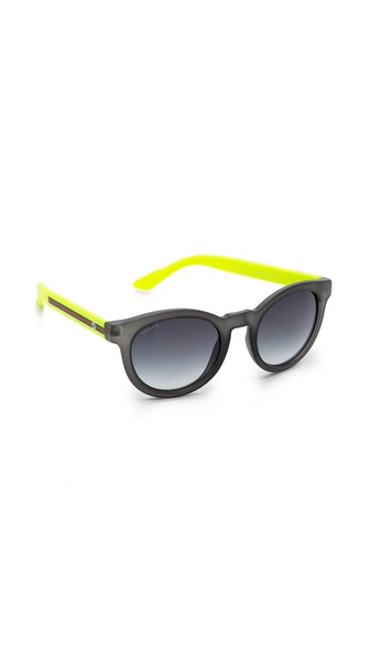 Gucci Round Classic Sunglasses - Transparent Grey/Grey Gradient at Shopbop / East Dane