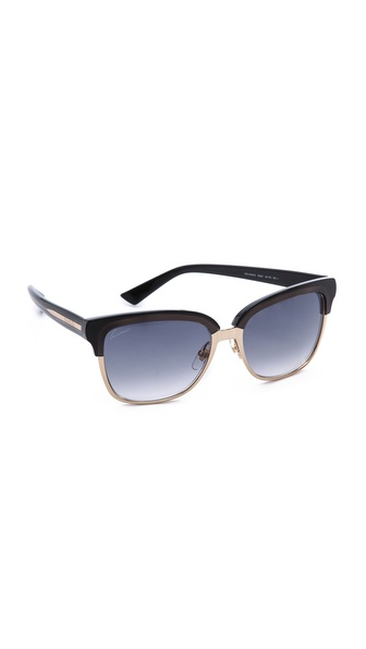Gucci Square Sunglasses - Gold/Dark Grey/Grey Gradient at Shopbop / East Dane