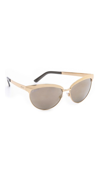 Gucci Mirrored Cat Eye Sunglasses - Gold/Grey Ivory Mirror at Shopbop / East Dane