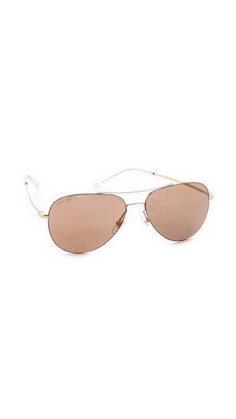 Gucci Aviator Mirror Sunglasses - Gold/Brown Mirror at Shopbop / East Dane