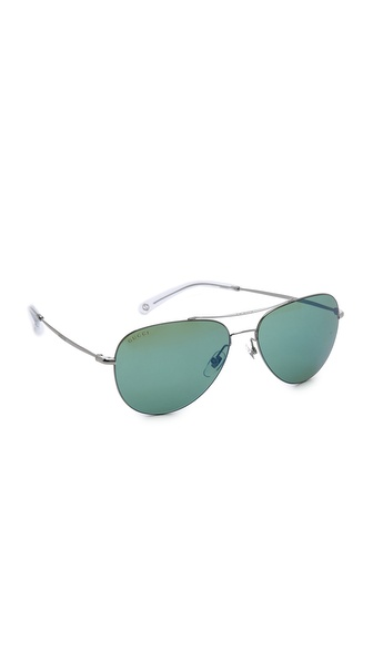 Gucci Aviator Mirror Sunglasses - Ruthenium/Green Blue Mirror at Shopbop / East Dane