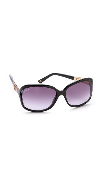 Gucci Open Side Sunglasses - Shiny Black/Grey Gradient at Shopbop / East Dane