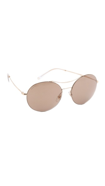 Gucci Round Aviator Sunglasses - Gold/Brown Mirror at Shopbop / East Dane