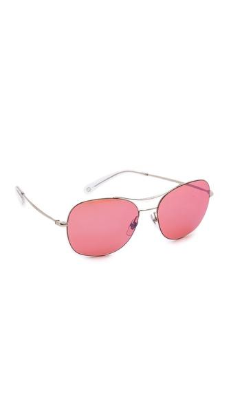 Gucci Aviator Sunglasses - Palladium/Pink Blue Mirror at Shopbop / East Dane