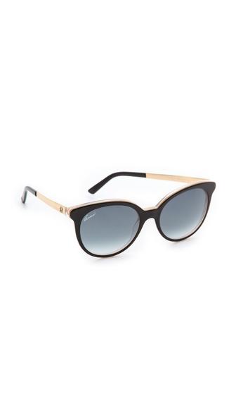 Gucci Embossed Sunglasses - Black/Grey Gradient at Shopbop / East Dane
