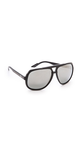 Gucci Mirrored Oversized Aviator Sunglasses - Matte Black/Black Mirror at Shopbop / East Dane