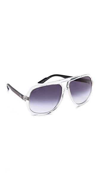 Gucci Gucci Mirrored Oversized Aviator Sunglasses (Transperant)