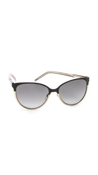 Gucci Slight Cat Eye Sunglasses - Shiny Black/Grey Gradient at Shopbop / East Dane
