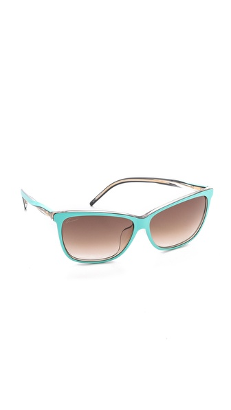 Gucci Special Fit Pointed Sunglasses - Turquoise/Brown Gradient at Shopbop / East Dane