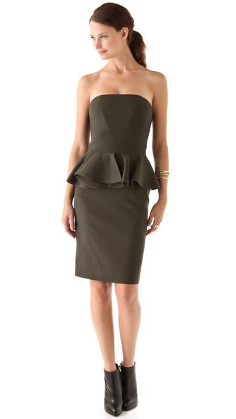 Hakaan Strapless Peplum Dress