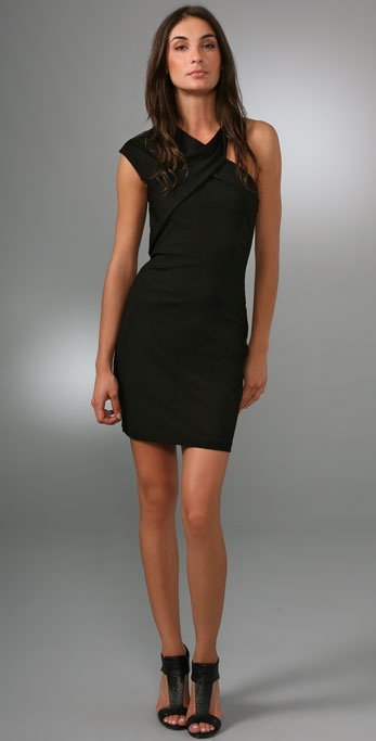 Halston Heritage Asymmetric Twist Dress