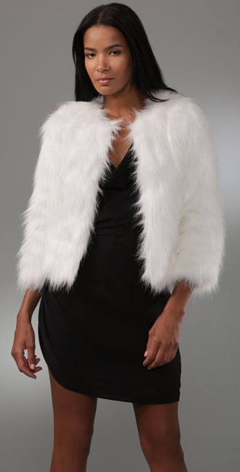 Halston Heritage Faux Fur Short Coat