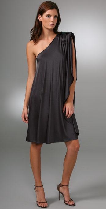 Halston Heritage One Shoulder Dress with Sequin Epaulet