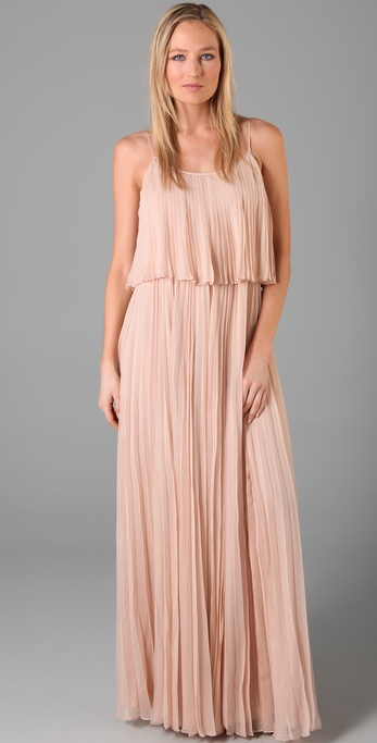 Halston heritage pleated chiffon long dress shopbop for Halston heritage shirt dress