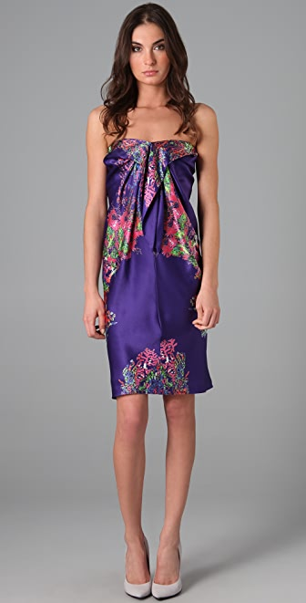 Halston Heritage Sarong Print Cocktail Dress