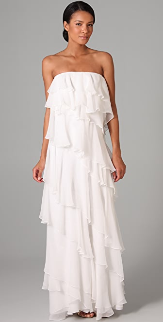 Halston Heritage Ruffle Strapless Long Dress