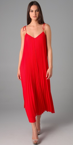 Halston Heritage Spaghetti Strap Pleated Maxi Dress