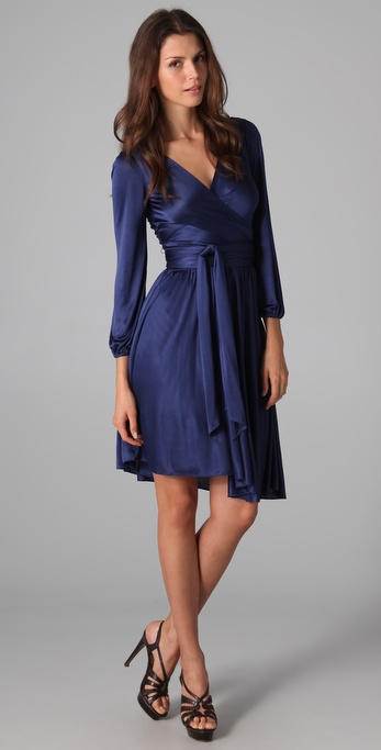 Halston Heritage Long Sleeve Wrap Dress