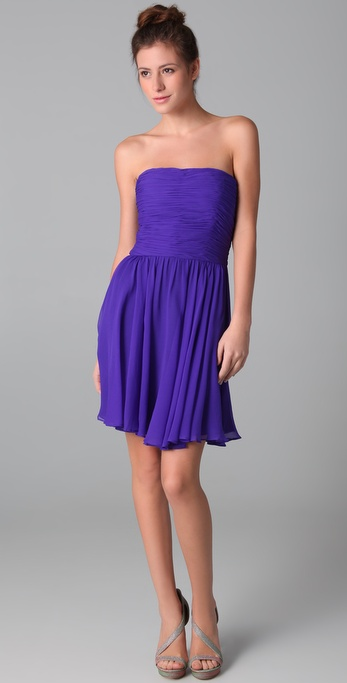 Halston Heritage Ruched Strapless Dress