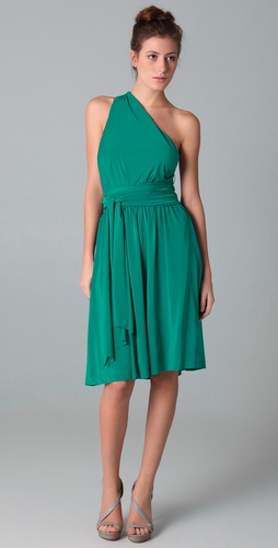 Halston Heritage One Shoulder Dress with Sash