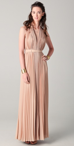 Halston Heritage Pleated V Neck Gown
