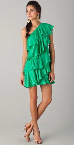Halston Heritage One Shoulder Tiered Dress