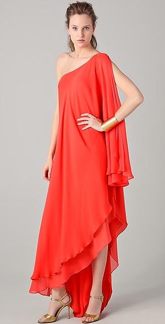 Halston Heritage One Shoulder Cascade Gown