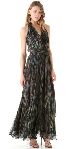 Halston Heritage Brushstroke Print Halter Maxi Dress