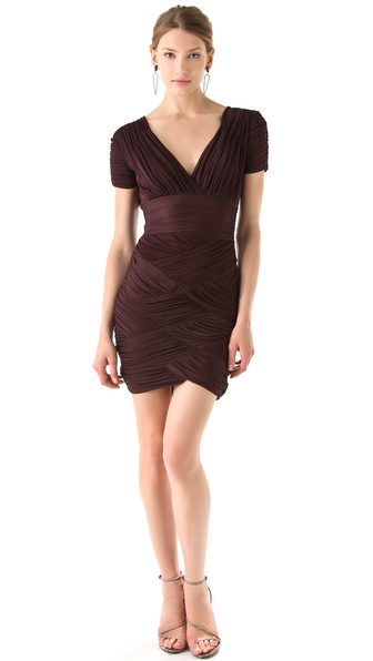 Halston Heritage Short Sleeve Ruched Dress