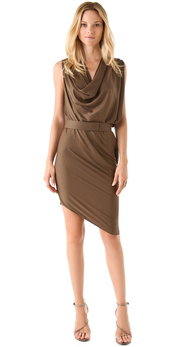 Halston Heritage Belted Drape Dress