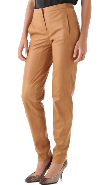 Halston Heritage Slouchy Leather Trousers
