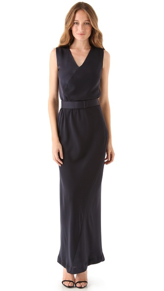 Halston Heritage V Neck Column Gown