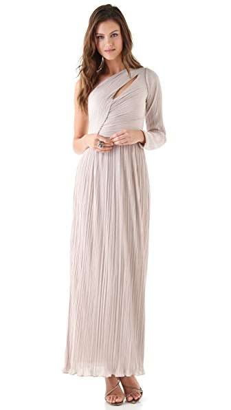 Halston Heritage One Shoulder Pleated Gown