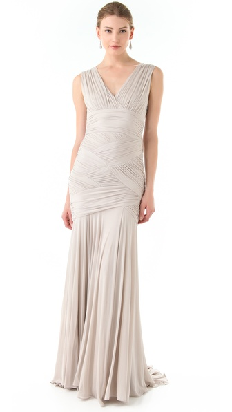 Halston Heritage Basket Weave Gown