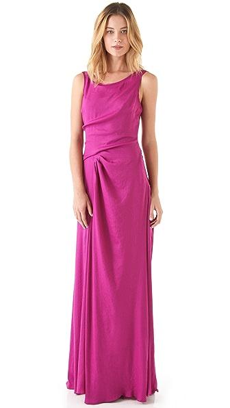 Halston Heritage Drape Side Scoop Back Gown