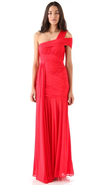 Halston Heritage Ruched Bustier Gown
