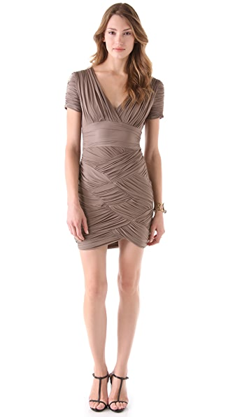 Halston Heritage V Neck Basket Weave Dress