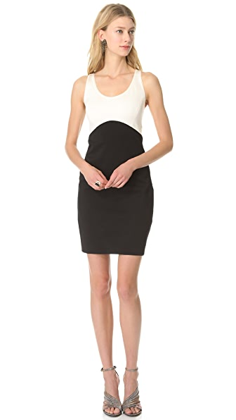 Halston Heritage Sleeveless Colorblock Dress
