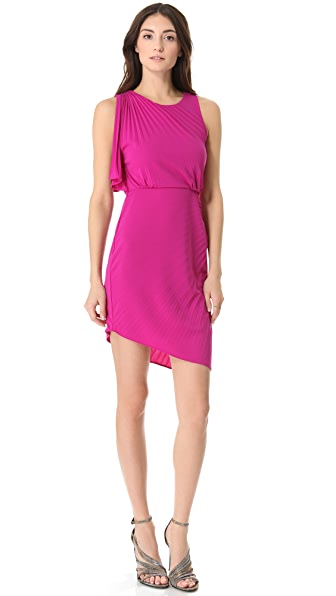 Halston Heritage Pleated Asymmetrical Dress