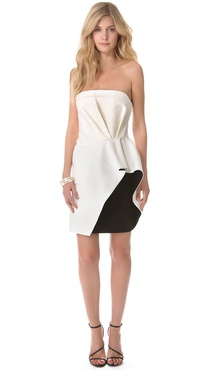 Halston Heritage Ruffled Waist Dress